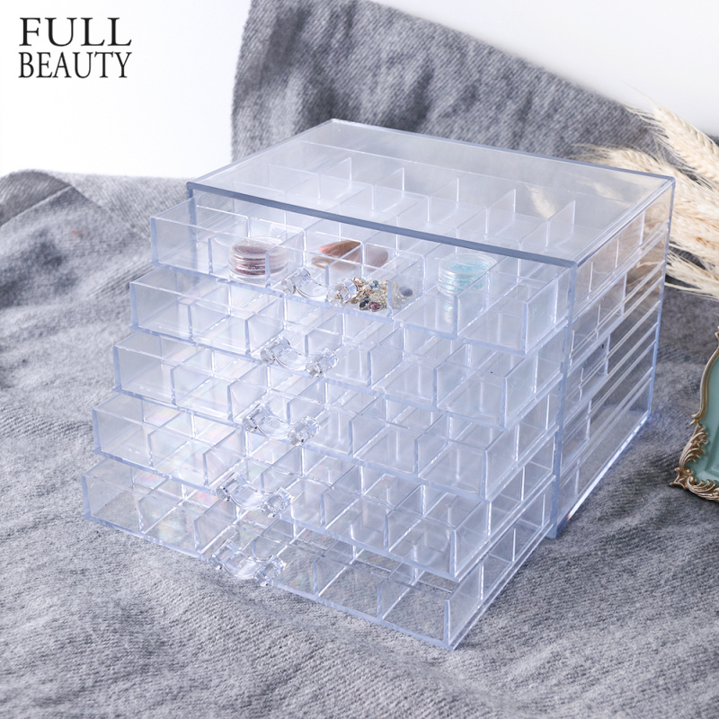 120 Grids Plastic Empty Nail Art Storage Box Tools Jewelry Rhinestone Beads Nail Polish Container Organizer Pullable Case CH755