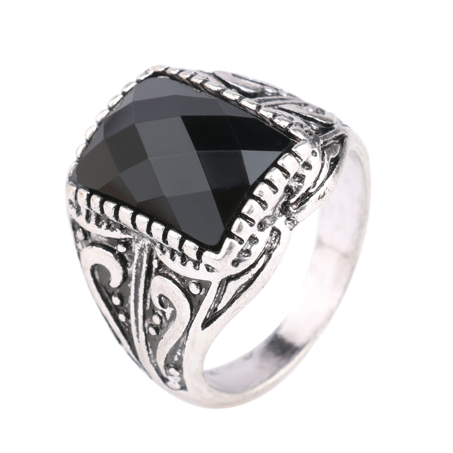 Classic Simple Unique Design Luxury Men Black Ring Engagement Vintage  Jewelry Silver Plated King Vigour High