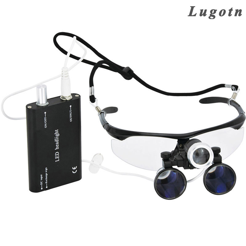 все цены на 3.5X magnification antifog medical enlarger lens surgery surgical magnifier with LED light oral dental headlight operation loupe онлайн