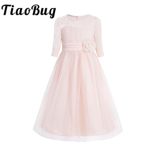 Image 1 - Girls Floral Lace Mesh Half Sleeves Flower Girl Dress A Line Tea Length Princess Pageant Birthday Wedding Party Dress SZ 4 14