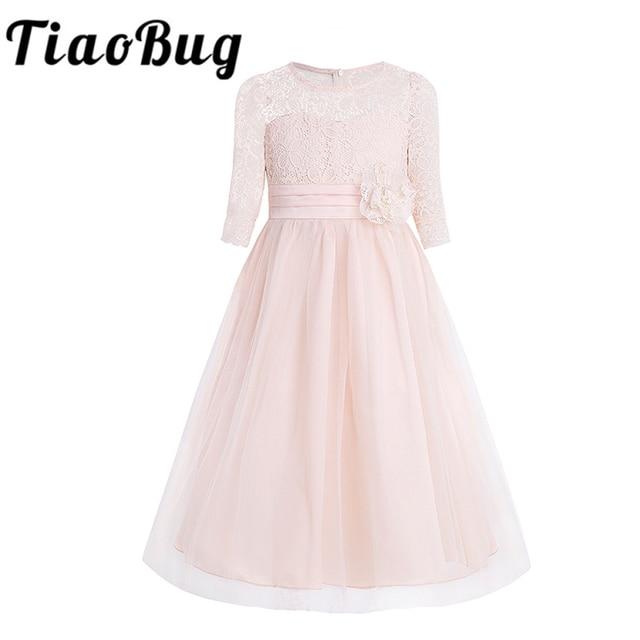 Girls Floral Lace Mesh Half Sleeves Flower Girl Dress A Line Tea Length Princess Pageant Birthday Wedding Party Dress SZ 4 14