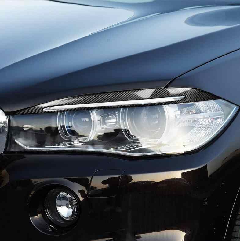 2 Sợi Carbon Đèn Pha Ô Tô Lông Mày Nắp Trang Trí Dán Viền Đề Can Ô Tô Phụ Kiện Cho Xe BMW F15 X5 2014- 2017