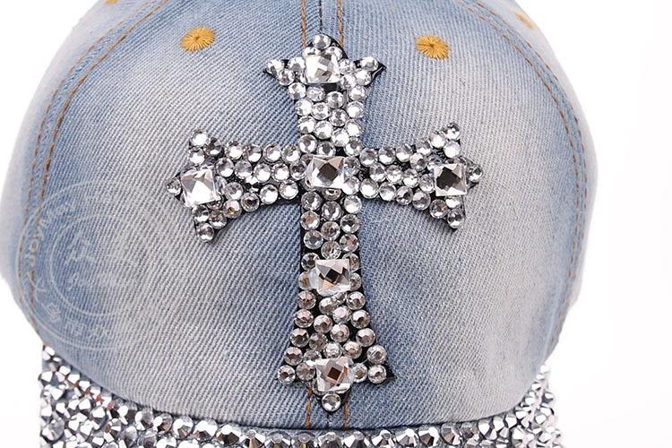2014 fashion Diamond Point Crosses cowboy denim caps women baseball cap men Hat rhinestone print 5 pcs/lot