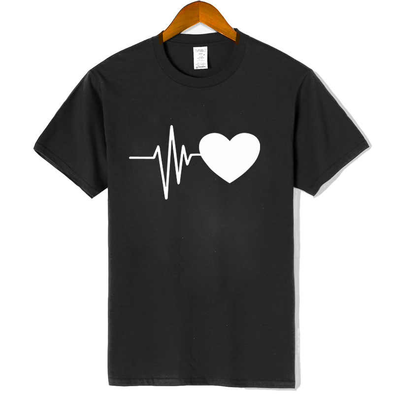 100% cotton summer Women T-shirts highquality printed funny Heart rate creative short sleeve t shirts short sleeve tee women