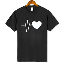 100% cotton summer Women T-shirts highquality printed funny Heart rate creative short sleeve t shirts short sleeve tee women(China)