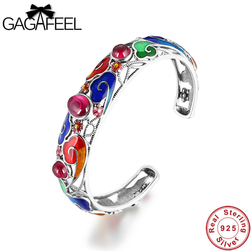 Gagafeel Pure 925 Sterling Silver Open Bangles&Bracelet Garnet Blue Red Corundum S925 Solid Thai Silver Chain Bracelet for Women