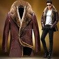 2015 Invierno Hombre Abrigo de Cuero de Grano del Cocodrilo del Cuero de Las Ovejas Hombre Chaqueta de abrigo de piel