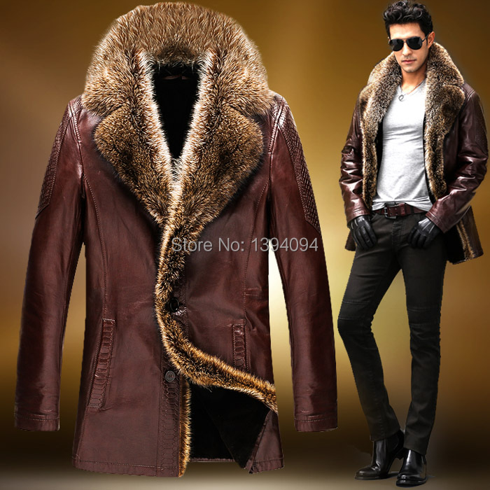 Sold Out !!!  Winter Man's Crocodile Grain Leather Coat Sheep Leather Jacket  Man Fur Coat
