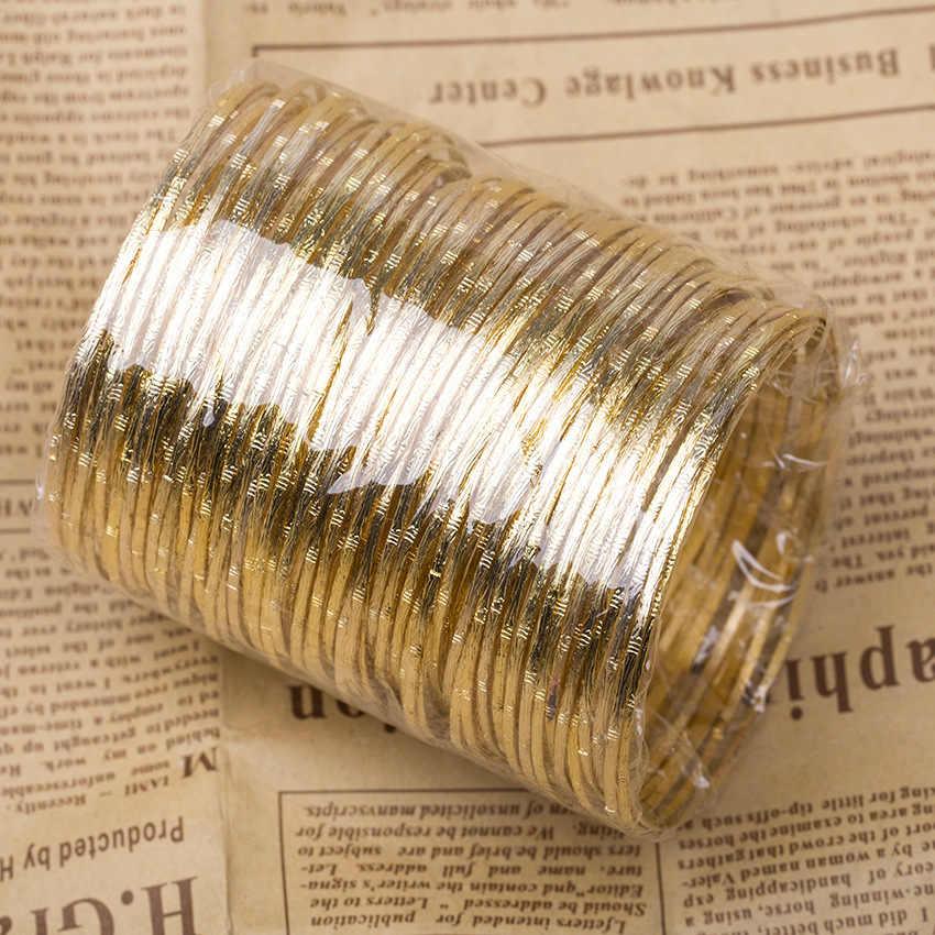 100 piece/lot Besar Lingkaran Bangle Emas Perak Disepuh Putaran Hoop Cuff Gelang Wanita Gelang Fashion Perhiasan Sederhana