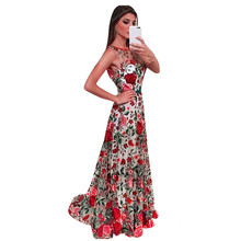 Spring Women Ladies Long Formal Embroidery Dress Party Ball Gown Flower Lace Dress Elegant Maxi Dress