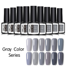 LEMOOC Hybrid Primer Nail Gel Lak 8ML Gray Color Series Nail Gel Polish Soak Off Nails Gel UV Color Nail Art Gel Lacquer Varnish mustela gel lavant doux