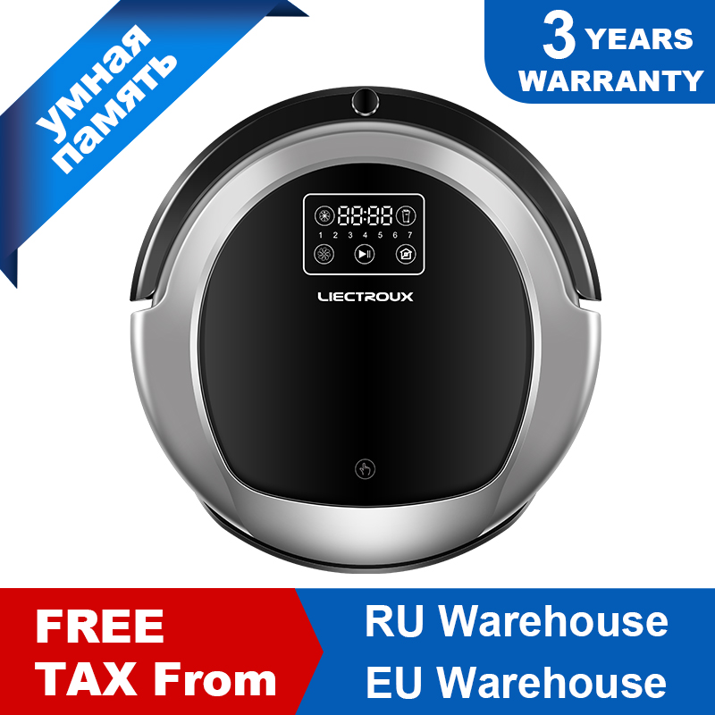 LIECTROUX Robot Vacuum Cleaner B6009,2D Map & Gyroscope Navigation,with Memory,Low Repetition,Virtual Blocker,UV Lamp,Water Tank