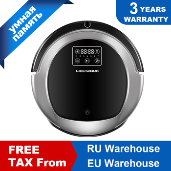 LIECTROUX Robot Vacuum Cleaner B6009,2D Map & Gyroscope Navigation,with Memory,Low Repetition,Virtual Blocker,UV Lamp,Water Tank free for russian buyer 4 in 1 multifunctional robot vacuum cleaner with virtual blocker self charging lcd touch liectroux