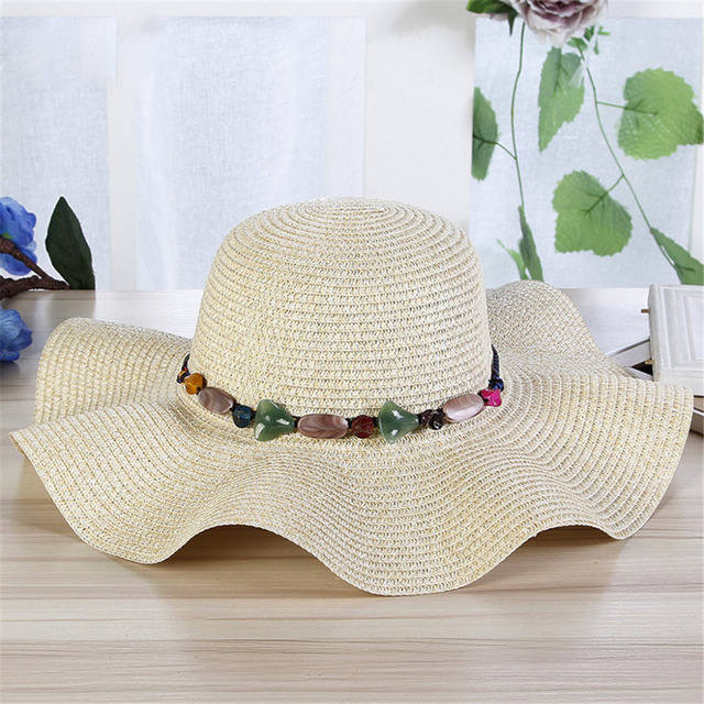 86c4b06cf35f51 Vogue Women's Summer Cap Beach Hat Big Wide Brim Straw Hats Sun Visor  Ladies Colorful Stone