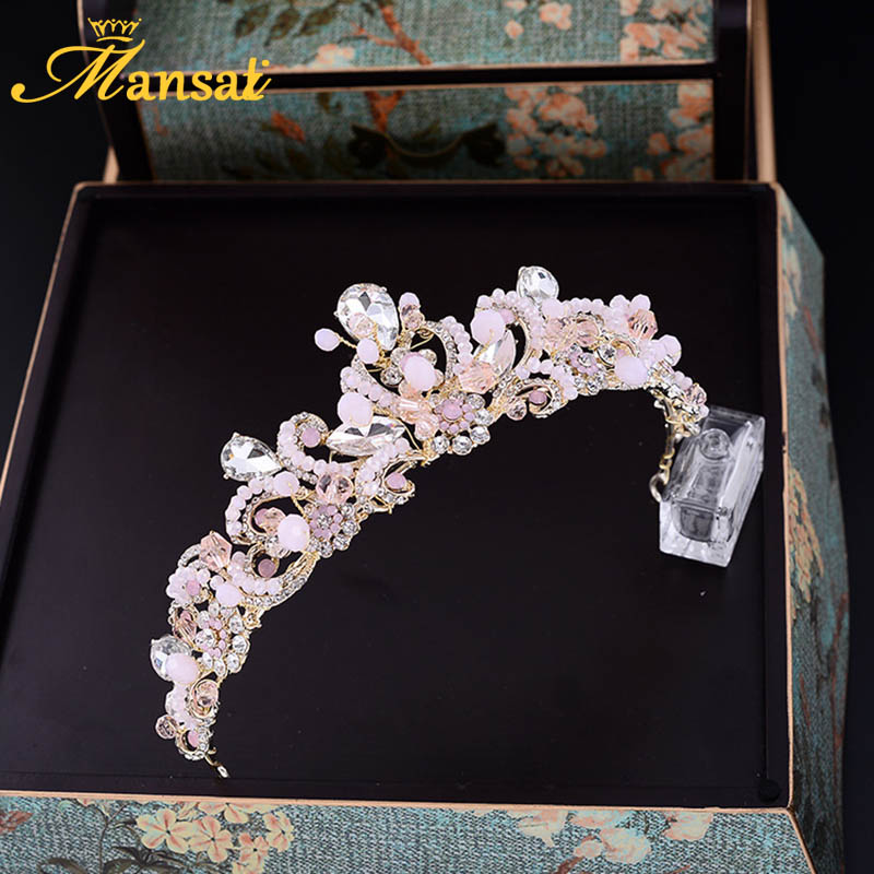 Gorgeous Pink Crystal Princess Tiara Water Drop Rhinestone Crown For Women Wedding Veil Hair Jewelry Girls Hair Accessory HG217