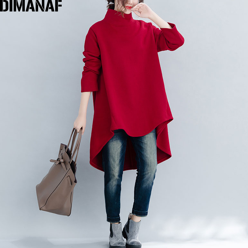 DIMANAF Plus Size Women Pullover Winter Warm Hoodies Sweatshirts Cotton Knitted Thicken Top Female Turtleneck Loose Clothes 2018