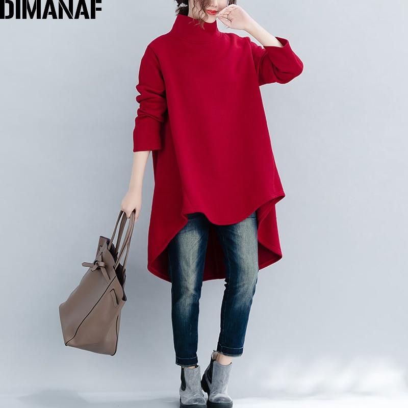 DIMANAF Plus Größe Frauen Pullover Winter Warme Hoodies Sweatshirts Baumwolle Strick Verdicken Top Weibliche Rollkragen Lose Kleidung 2019