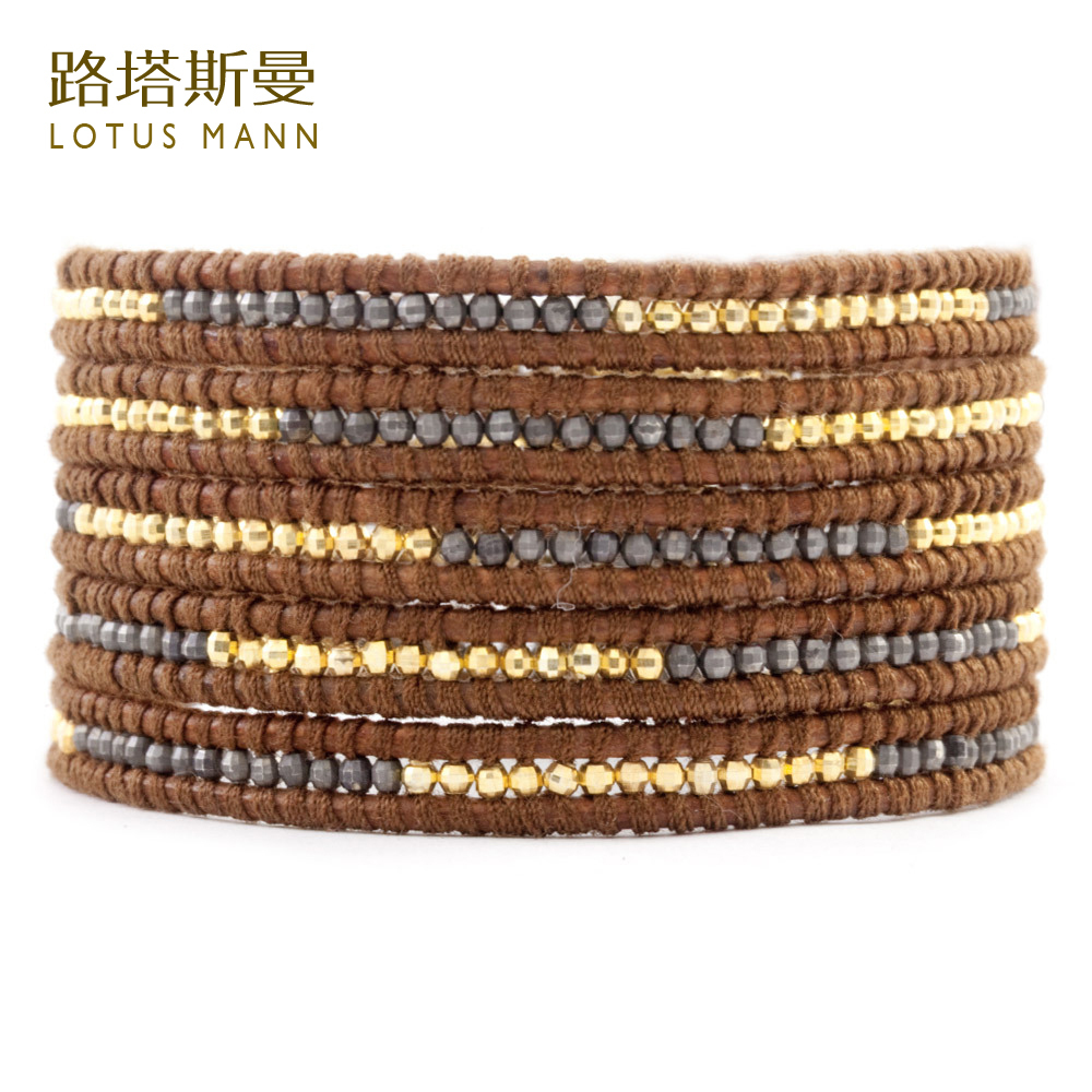 Lotus Mann Silver nugget and gun color brown leather strap woven bracelet five laps цена