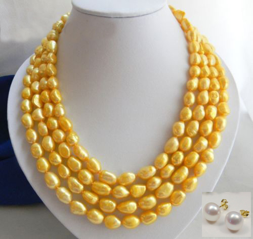 4Strands Golden Baroque Freshwater Pearl Necklace earring4Strands Golden Baroque Freshwater Pearl Necklace earring