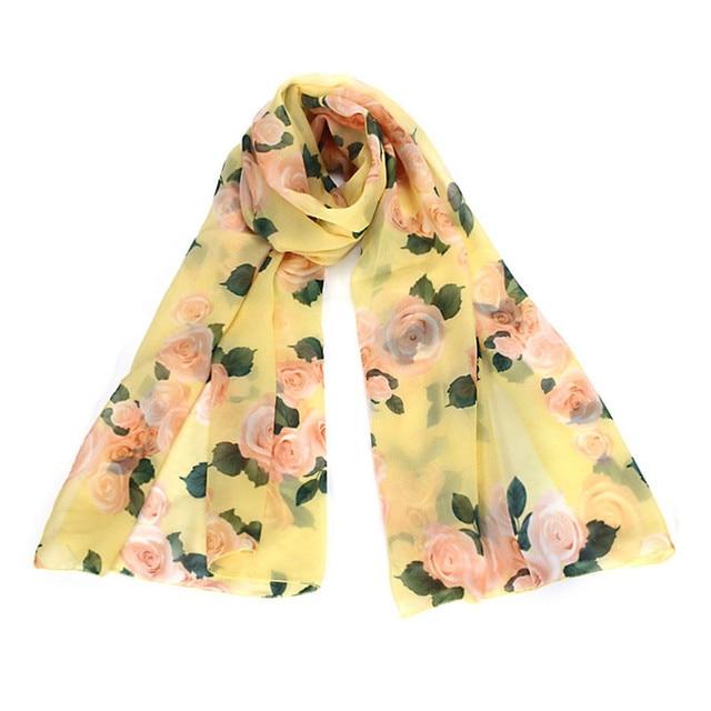 mode angepasst frauen damen voile lange stola schals rose muster schal gelb rosa grn - Schal Muster