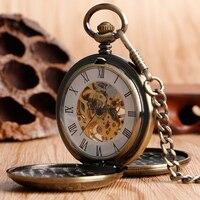 Luxury Men Cool Mechanical Chain Women Vintage Pendant Exquisite Pocket Watch Bronze Hand Winding Trendy Gift