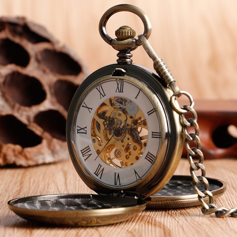 Retro Bronze Hollow Case Double Full Hunter Design Roman Number Skeleton Mechanical Pocket Watches Steampunk Fob Watch for Men men mechanical pocket watch roman classic fob watches smooth open 2 side retro vintage gold ipg plating copper brass case