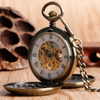 Retro Bronze Hollow Case Double Full Hunter Design Roman Number Skeleton Mechanical Pocket Watches Steampunk Fob Watch for Men