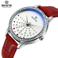 SKONE Diamond Quartz Brand Lady Watches Women Luxury Rhinestone Leather Dress Wrist watch Relogio Feminino Montre