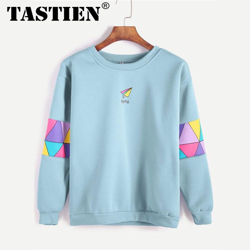 TASTIEN Pale Blue Patchwork Print Letter Geometric Sweatshirt Women Spring Autumn Casual Clothing Female Round Neck Pullover