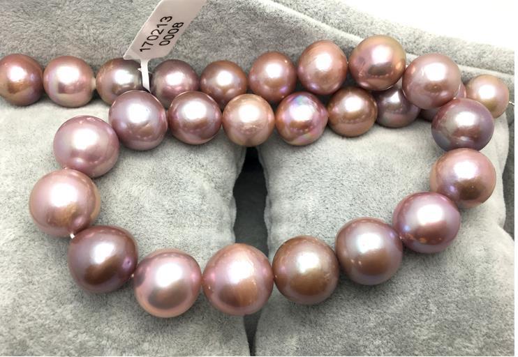 AAAA + + magnifique collier de perles rondes de lavande deau douce de 10-11mm 18 pouces 925 argentAAAA + + magnifique collier de perles rondes de lavande deau douce de 10-11mm 18 pouces 925 argent