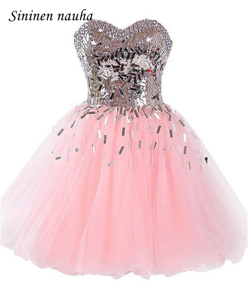 Pink Short   Prom     Dress   Party Homecoming   Dresses   For Juniors Sweetheart Sequined Beaded Ball Gown Mini Vestidos De Festa Longo 218