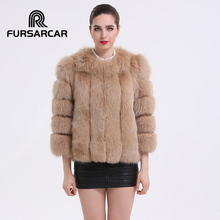 FURSARCAR 2017 NEW Fashion Women's Real Fox Fur Coat Winter Thick Light Brown Full Sleeve Short Jacket Women Natural Fur Outwear
