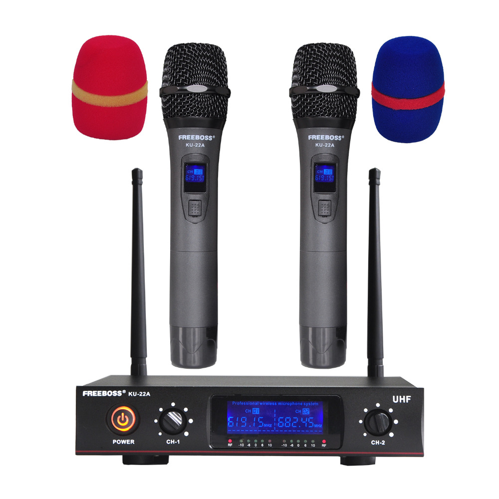 Freeboss KU-22A UHF 2 Way 2 Metal Handheld Wireless Microphone