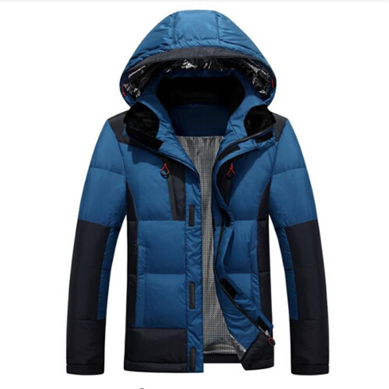 Speed Hiker Thick Down Jacket Men 2017 Winter Zipper With Hood Detached Warm Waterproof Windproof Size 3XL For -30 degrees