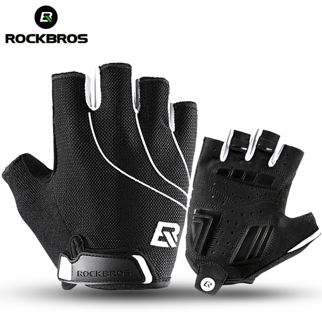 ROCKBROS Cycling Bike Half Short Finger Gloves Shockproof Breathable MTB Road Bicycle Gloves Men Women Sports Cycling Equipment