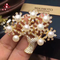 Christmas Tree Brooch WIth 7-8mm White HalfRound Natural Cultured Freshwater Pearls.