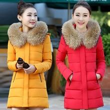 Новый Корейский Тонкий Вниз Mianfu зима пальто женщин в длинный абзац толщиной воротник пальто