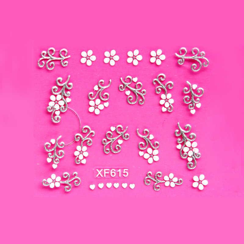 Słodkie 3D kwiat biały projekt transferu paznokcie sztuka naklejki ścienne lady kobiety narzędzia do manicure paznokci kalkomanie okłady