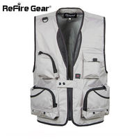 Summer Men Breathable Mesh Vest with Many Pockets Tactical Detachable Photography Waistcoat Male Casual Quick Dry Shooting Vests