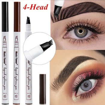 3 Colors Microblading Eyebrow Tattoo Pen 4 Head Fine Sketch Liquid Eyebrow Pencil Waterproof Tattoo Eye Brow Pen Smudge-proof