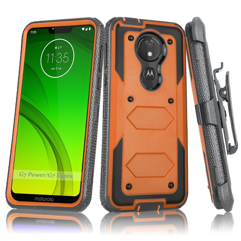 For Motorola Moto G7 Plus Armor Case Shockproof Belt Clip Holster Hard Cover G7 Play USA version G7 Power USA version G7 Supra in Holsters Clips from Cellphones Telecommunications