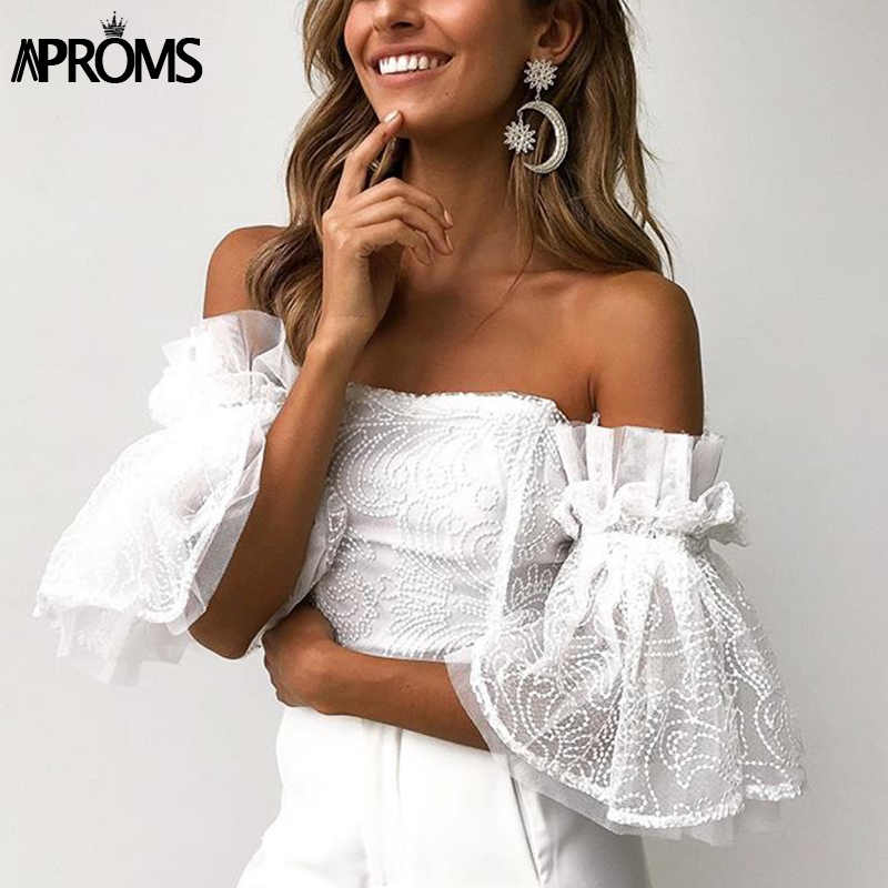 Aproms Elegant Off Shoulder Lace Mesh Crop Top Women Sexy Hollow Out White Tank Tosp 2019 Cool Girls Flare Sleeve Tube Camis