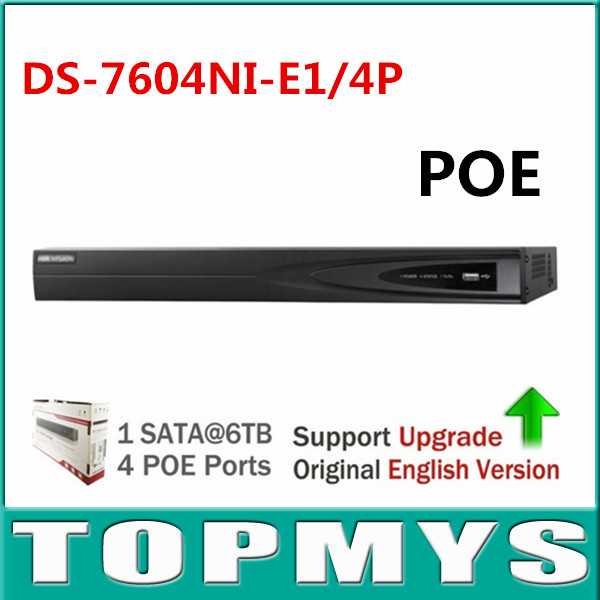 Free Shipping Original Overseas Version DS 7604NI E1 4P NVR Economic NVR for IP Camera CCTV
