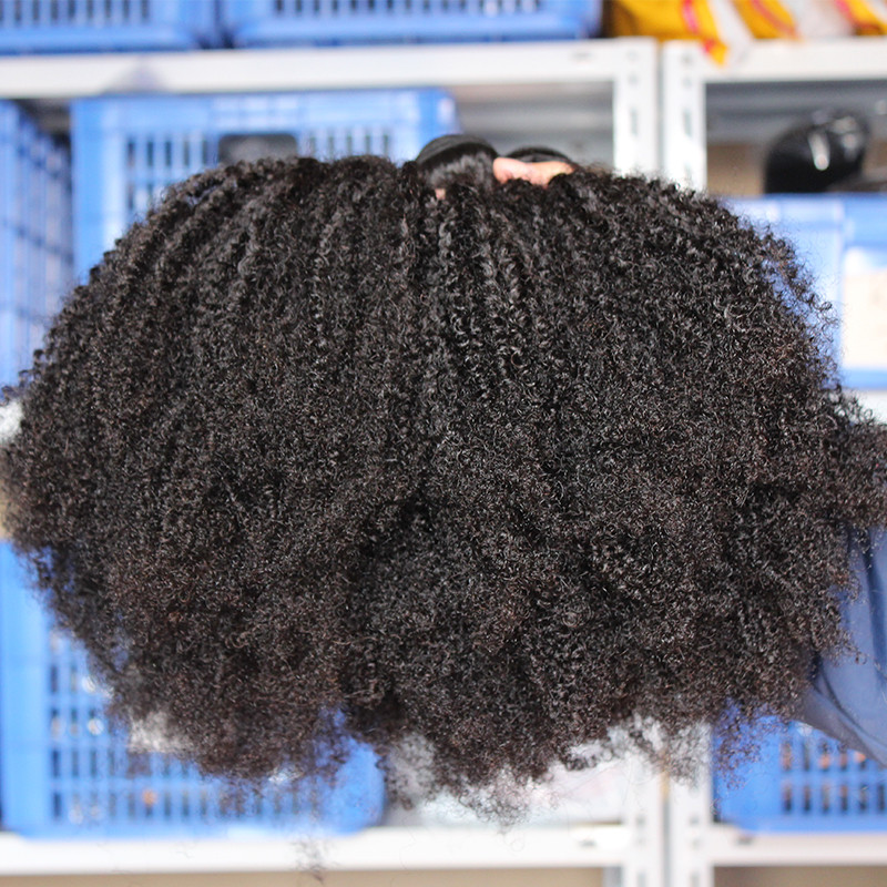 Mongolian Afro Kinky Curly Weave 4B 4C 100% Natural Virgin Black - Cabello humano (negro) - foto 3