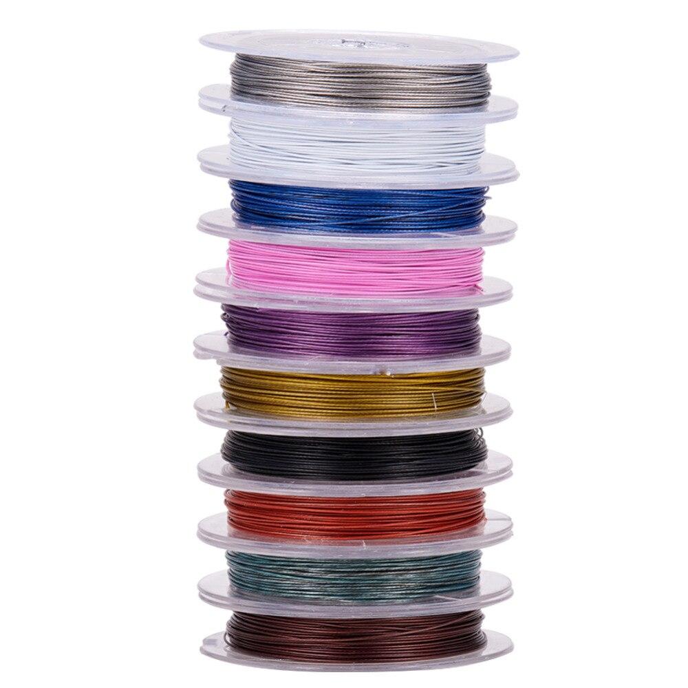 0,38mm Mixed 10 Farben Schmuck Erkenntnisse Perlen Draht Stahl Tiger Schwanz, über 10 M/roll Für Armband Halskette Schmuck Machen Diy