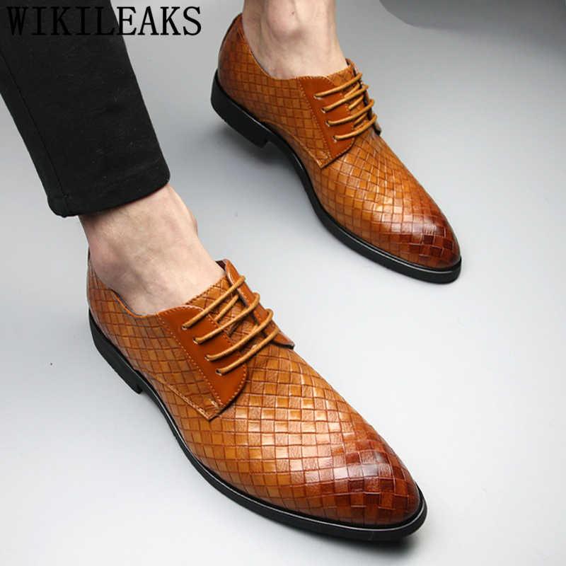 オフィス靴メンズクラシック結婚式の靴美容師英国メンズ靴フォーマル高級ブランド calzado hombre sepatu kulit pria bona