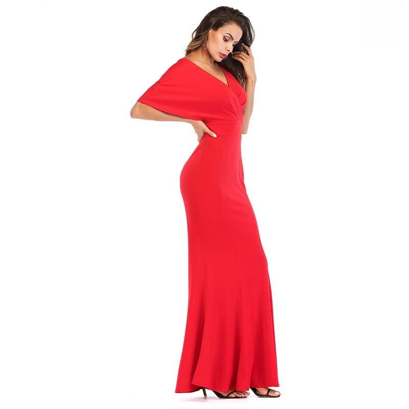 WHZHM Vestidos Party Dress A-Line Summer Dress Short Cloak Sleeves Deep V-Neck Long Sexy Hollow Out Backless Dreess Black Jurk