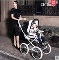 Бесплатная доставка высокое качество роскошный коляска CH ребенка кожа ребенка коляски ребенка коляска и коляска 2 в 1 с люлька