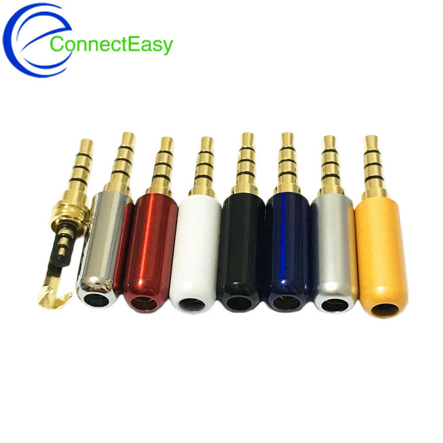 4pcs 4poles RCA Connector 3.5mm Jack with Clip Hook Connector Audio Plug 3.5mm Audio Plug Stereo Headset Dual Track Headphone