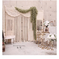 Wedding party background curtain arch woven tapestry macrame rope tassel partition 150cmx180cm